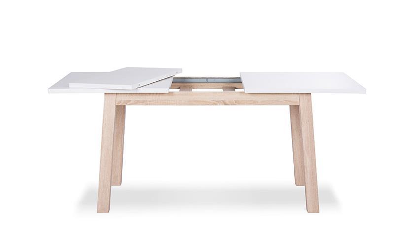 Esstisch APART 7 Tisch Esszimmertisch in weiß Sonoma Eiche 140-190 cm