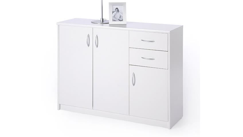 Sideboard KIEL 2 weiß 3 Türen und 2 Schubkästen