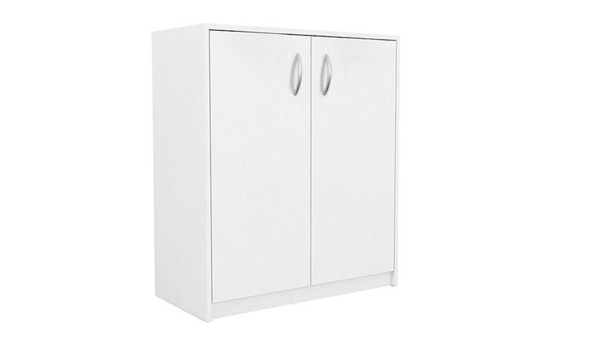 Kommode KIEL 12 weißer Büroschrank mit 2 Türen 74 cm breit