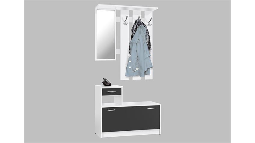 Garderobe RUDOLF mit Spiegel Schuhkipper Weiß Schwarz