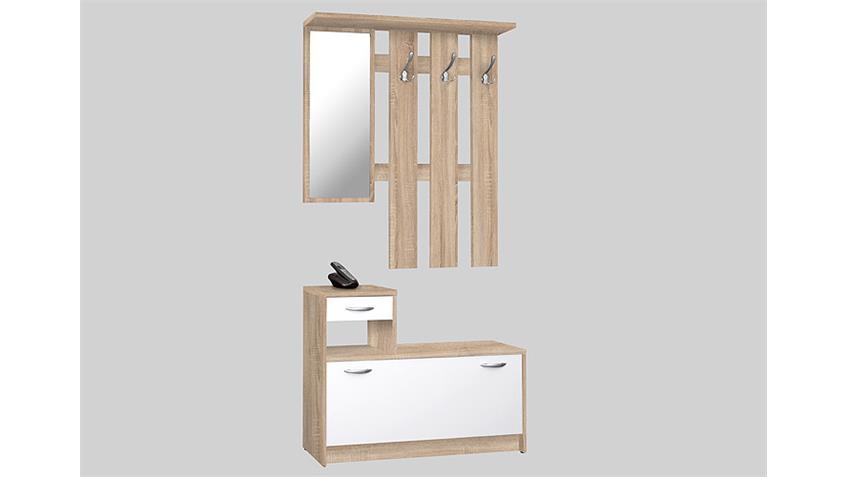 garderobe rudolf spiegel schuhkipper sonoma eiche wei. Black Bedroom Furniture Sets. Home Design Ideas