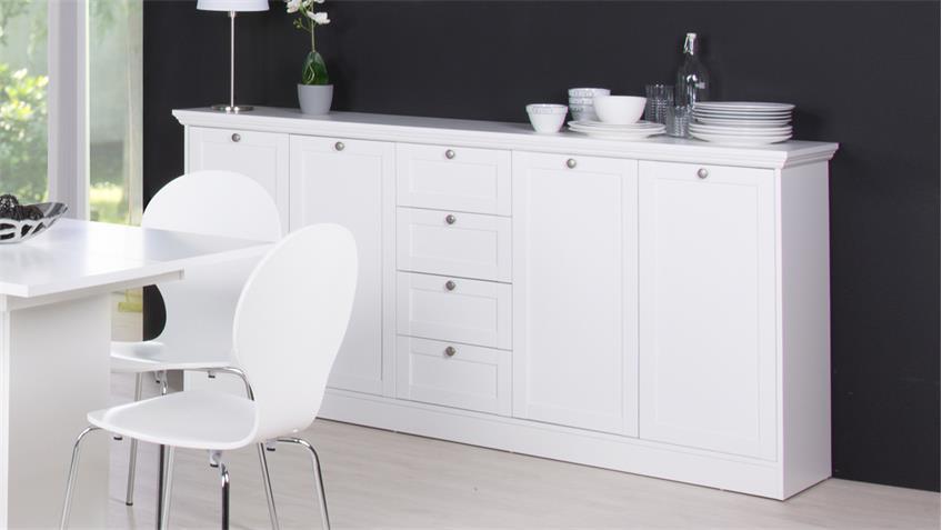 Sideboard LANDWOOD Anrichte in weiß mit 4 Schubkästen Landhausstil