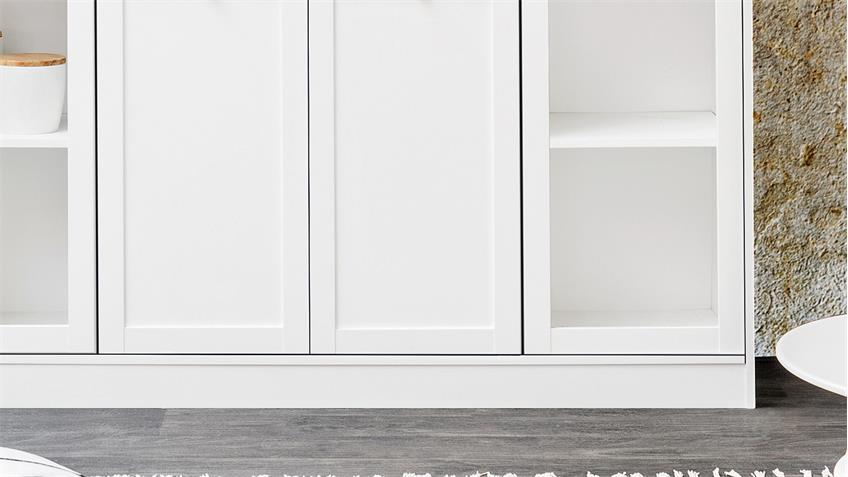 Highboard LANDWOOD Schrank Anrichte in weiß mit 4 Türen Landhausstil