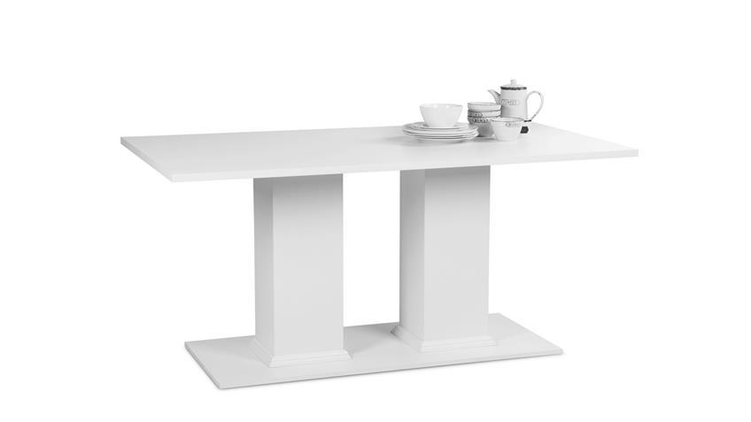Esstisch LANDWOOD Esszimmertisch Tisch in weiß 160x90 cm Landhausstil