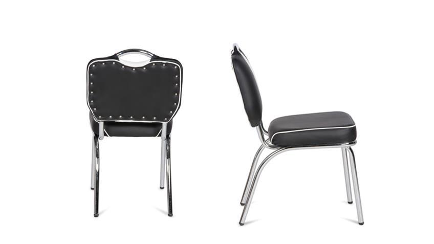 Stuhl ELVIS 4er Set schwarz Chrom 50er Jahre American Diner