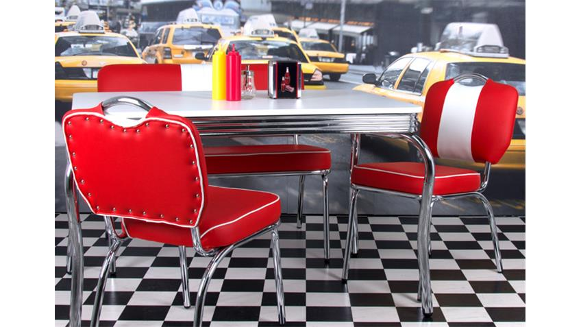 Stuhl ELVIS 4er Set rot Chrom 50er Jahre American Diner