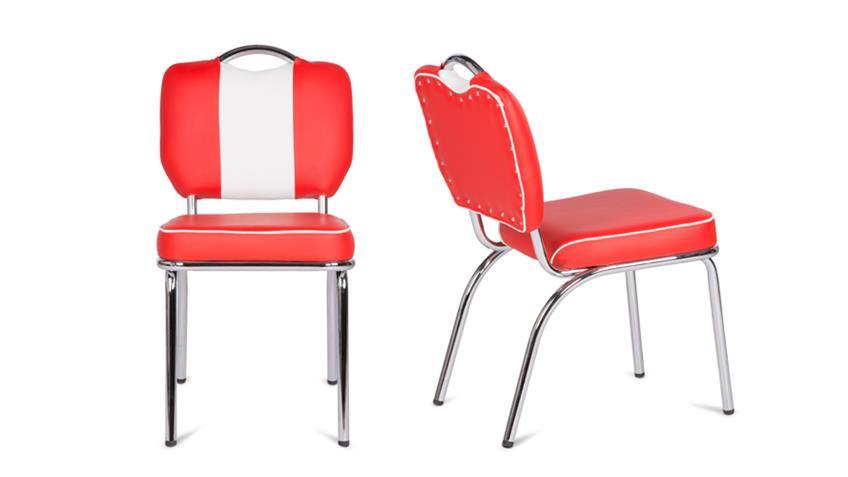 Stuhl ELVIS in rot Chrom Retro 50er Jahre American Diner