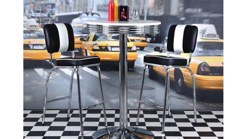 Barhocker ELVIS schwarz Chrom 50er Jahre American Diner