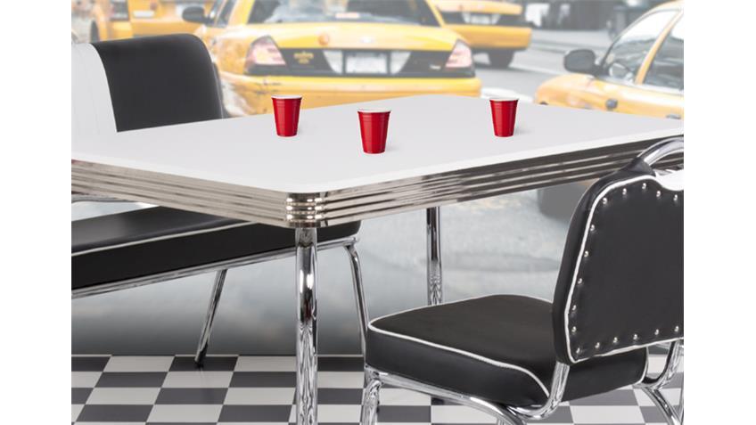Tischgruppe ELVIS schwarz chrom 50er Jahre American Diner