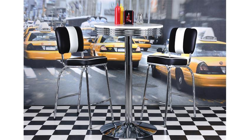 Bistro Set  ELVIS schwarz chrom 50er Jahre American Diner