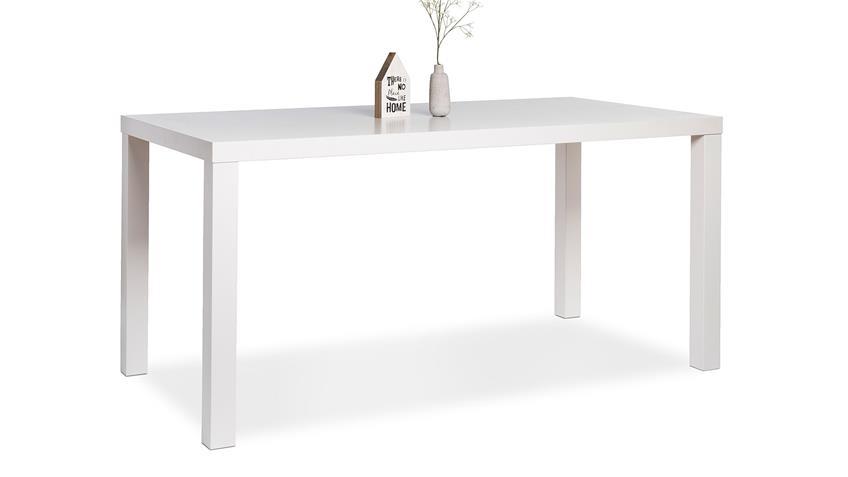 Esstisch PRINO MDF in weiß Hochglanz lackiert 160x80 cm