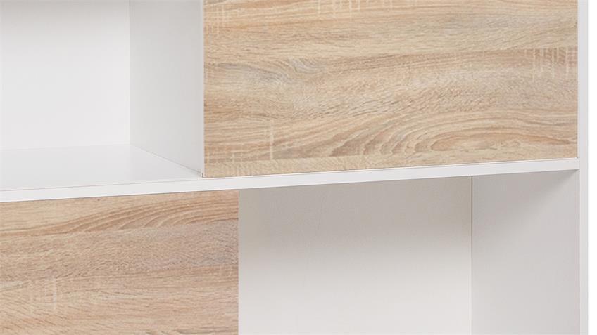 Regal APART 5 Kommode Sideboard Schrank weiß und Sonoma Eiche 120 cm