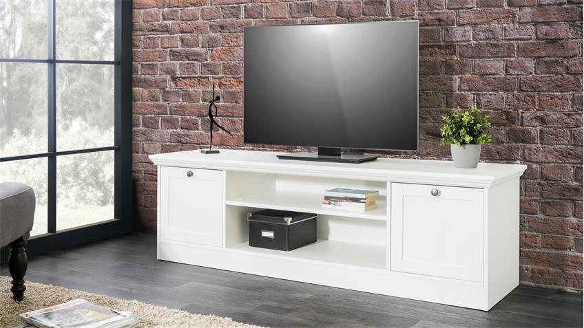 TV-Board LANDWOOD Lowboard HiFi in weiß mit 2 Fächern Landhausstil