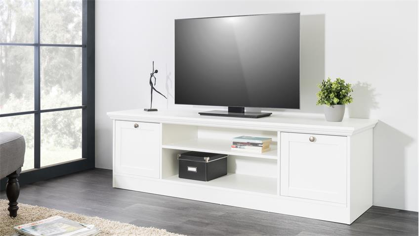TV-Board LANDWOOD Lowboard HiFi in weiß mit 2 Fächern Landhausstil