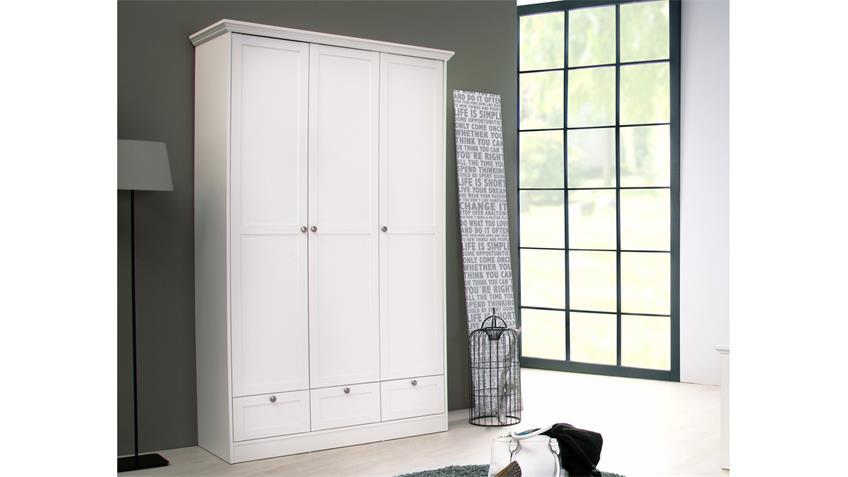Kleiderschrank Landwood weißer Schrank 3-türig im Landhausstil