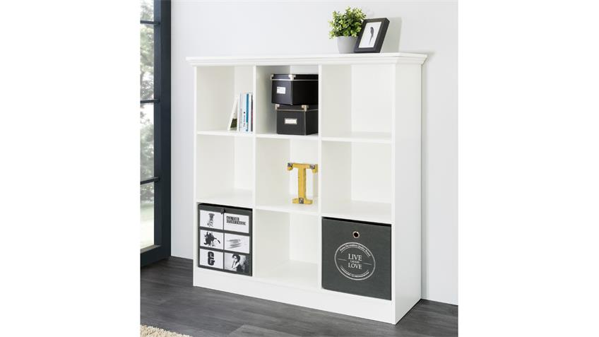 Regal LANDWOOD Bücherregal in weiß mit 9 Fächern 110 cm Landhausstil
