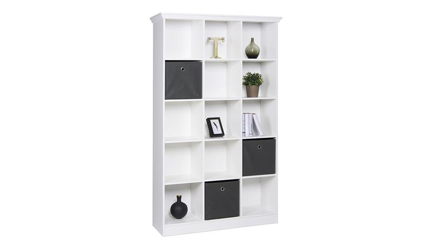 Regal LANDWOOD Bücherregal in weiß mit 15 Fächern 110 cm Landhausstil