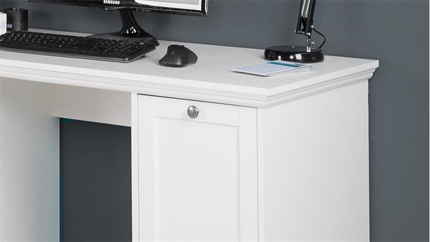 Schreibtisch Landwood in Weiß Vintage Landhaus 136x63 cm