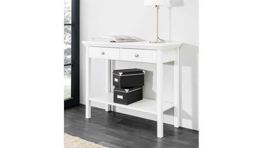 Konsole LANDWOOD Telefontisch in weiß mit 2 Schubkästen Landhausstil