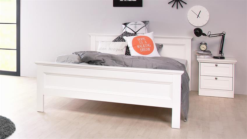 Bett LANDWOOD Bettgestell in weiß mit Kopfteil 140x200 cm Landhausstil