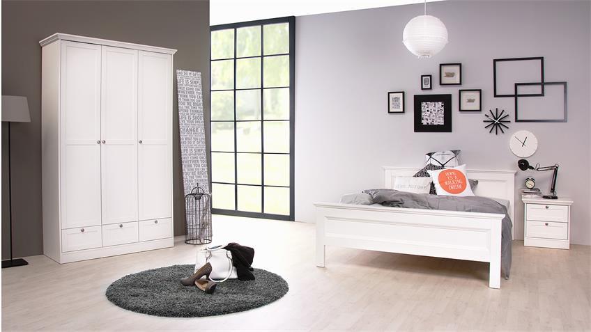 Bett LANDWOOD 62 in weiß Landhaus 140x200 cm