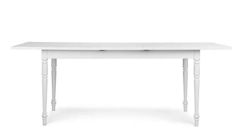 Esstisch LANDWOOD Tisch in weiß ausziehbar 160-200x90 cm Landhausstil