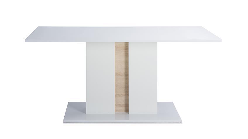 Esstisch GLOSSY 1 weiß Hochglanz Sonoma Eiche 160x90 cm