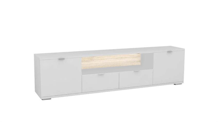 TV-Board GLOSSY 3 in weiß Hochglanz und Sonoma Eiche