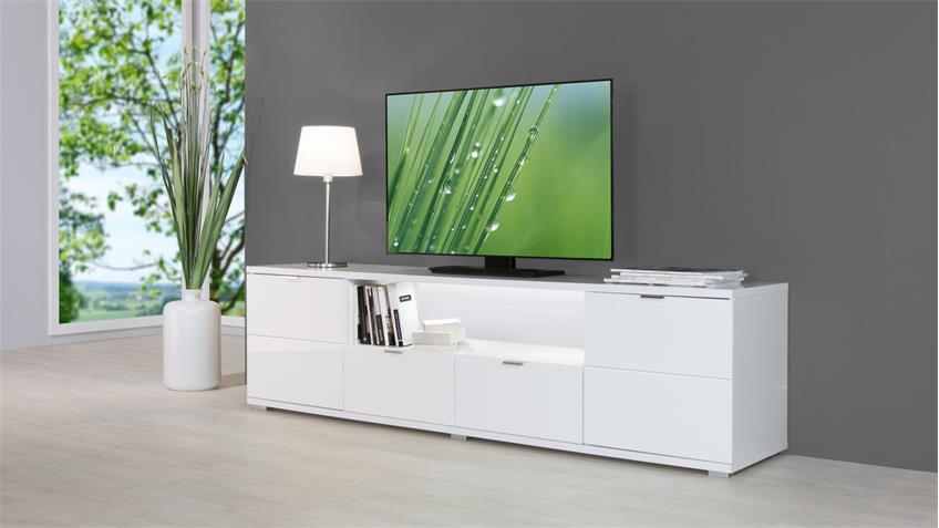 TV-Board GLOSSY Lowboard Unterschrank weiß Hochglanz und Sonoma Eiche
