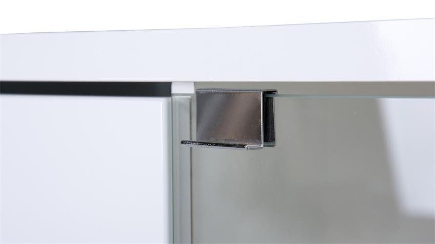 Sideboard GLOSSY 4 in weiß Hochglanz und Sonoma Eiche