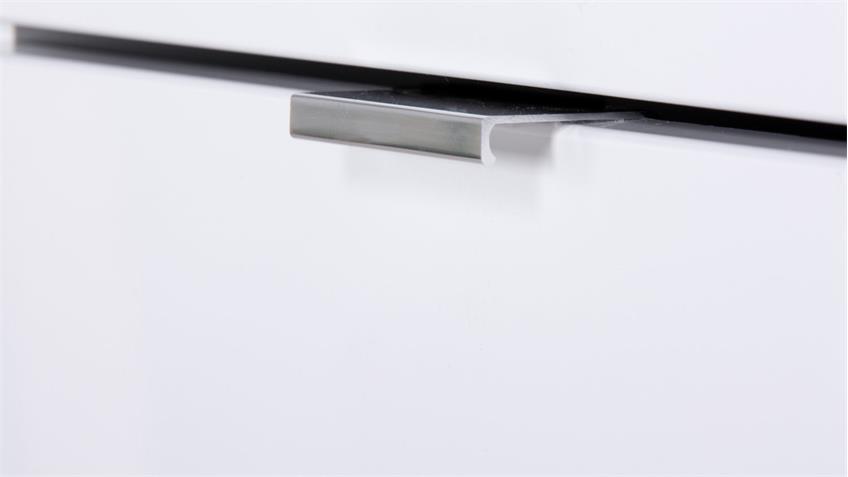 Sideboard GLOSSY 5 in weiß Hochglanz und Sonoma Eiche