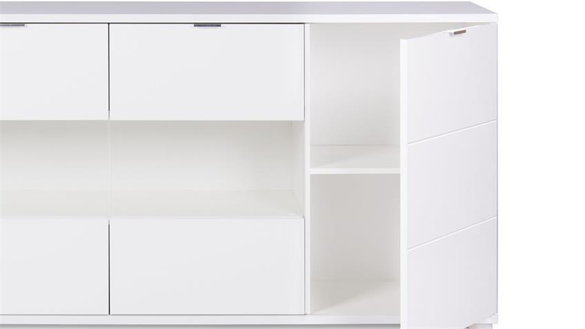 Sideboard GLOSSY Anrichte Kommode in weiß Hochglanz und Sonoma Eiche