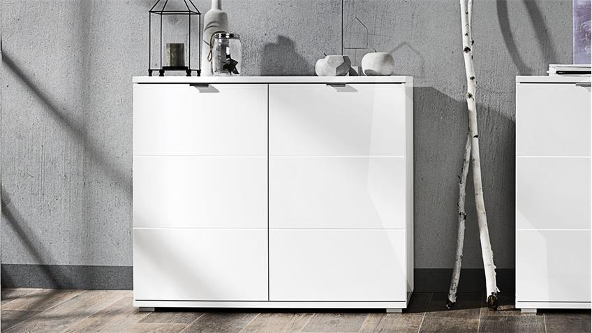 Kommode GLOSSY Sideboard Anrichte Schrank in weiß Hochglanz 100 cm