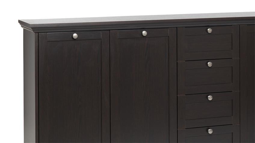 Sideboard TABACO in schwarzbraun darkwood 4 Schubkästen