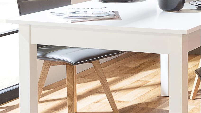 Esstisch COBURG Tisch Küchentisch in weiß ausziehbar 80-120