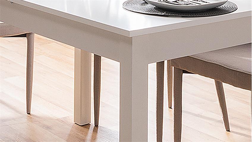 Esstisch COBURG Tisch Küchentisch in weiß ausziehbar 80-120x80 cm