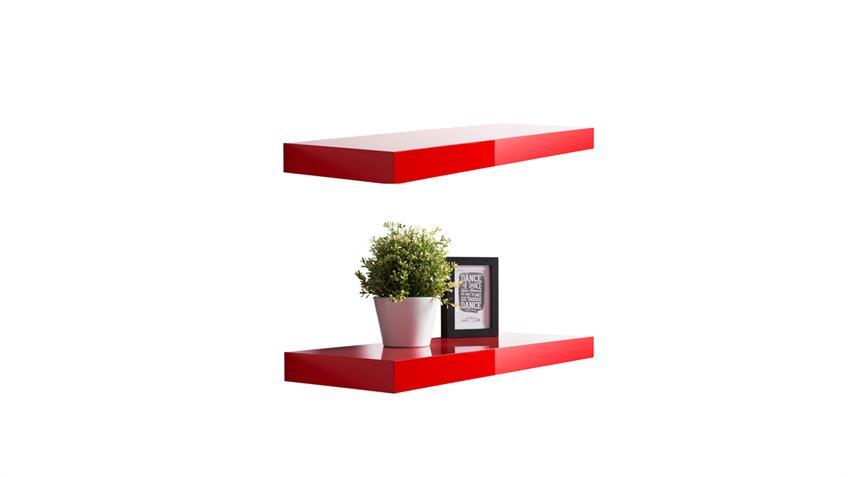 Wandboard 2er Set TUNA 2 Wandregal Hochglanz rot lackiert 60cm