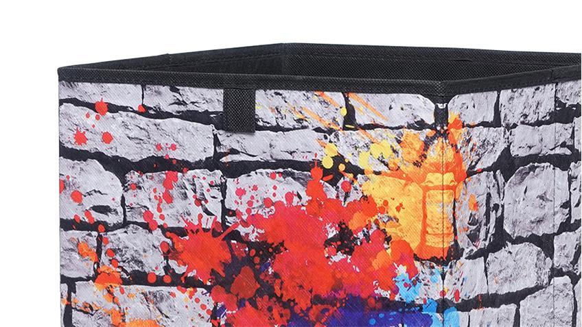 Faltbox FLORI 1 Aufbewahrungsbox Graffiti 32x32x32 cm