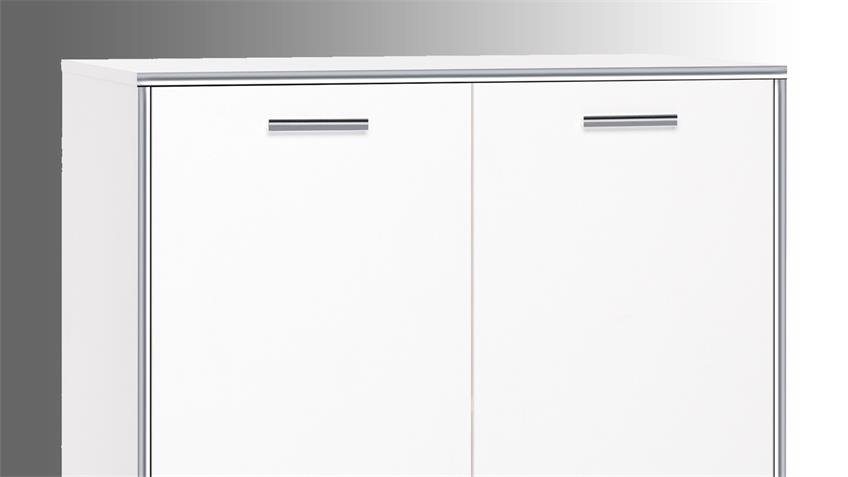 Kommode CROMA 1 in weiß mit ABS-Kante Chrom Glanz