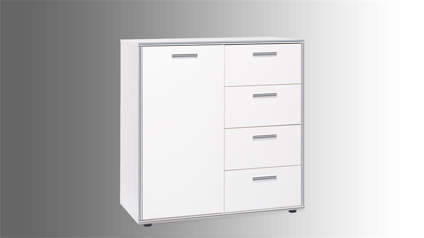 Kommode CROMA 2 in weiß mit ABS-Kante Chrom Glanz