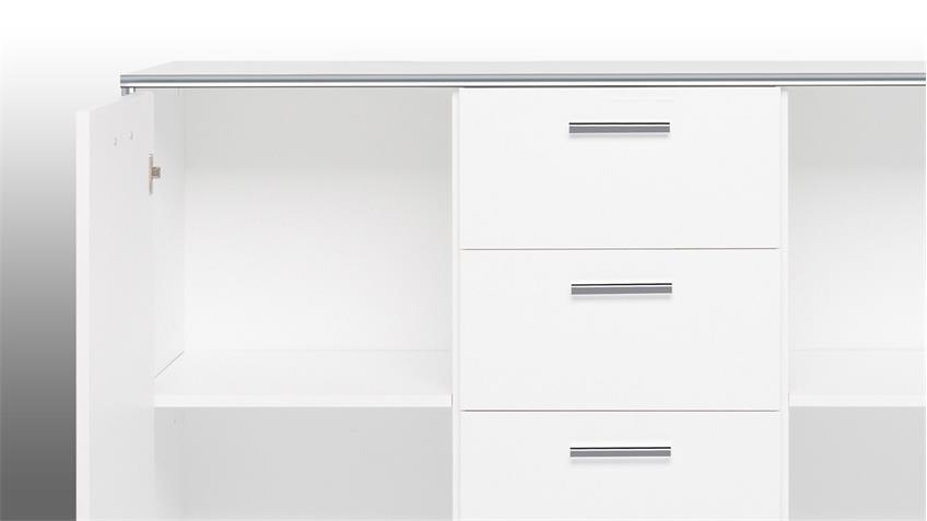 Kommode CROMA 4 in weiß mit ABS-Kante Chrom Glanz