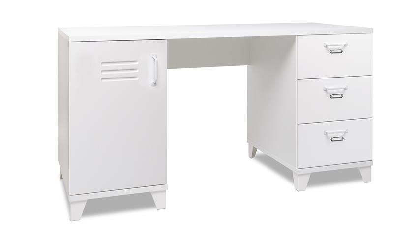 schreibtisch factory 30 retro tisch wei mit spind schubk sten 140x60. Black Bedroom Furniture Sets. Home Design Ideas