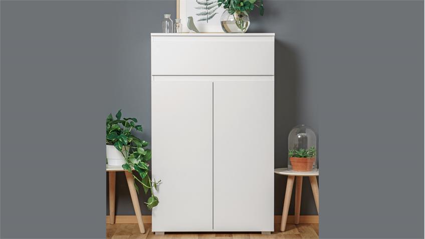 highboard blanc 3 hohe kommode 2 t rig mit schubkasten. Black Bedroom Furniture Sets. Home Design Ideas