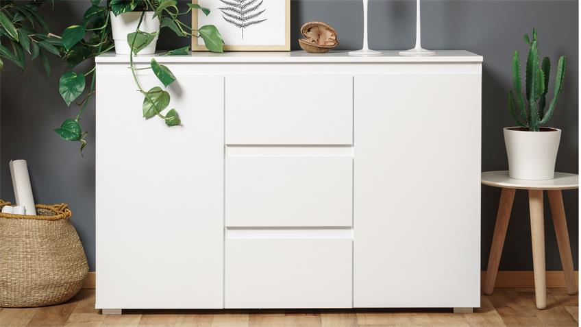 Sideboard blanc 4 grifflose kommode in wei 120 cm breit for Kommode 120 breit 50 tief
