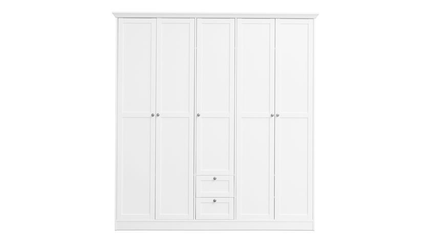 Kleiderschrank LANDWOOD Drehtürenschrank in weiß 5-türig Landhausstil