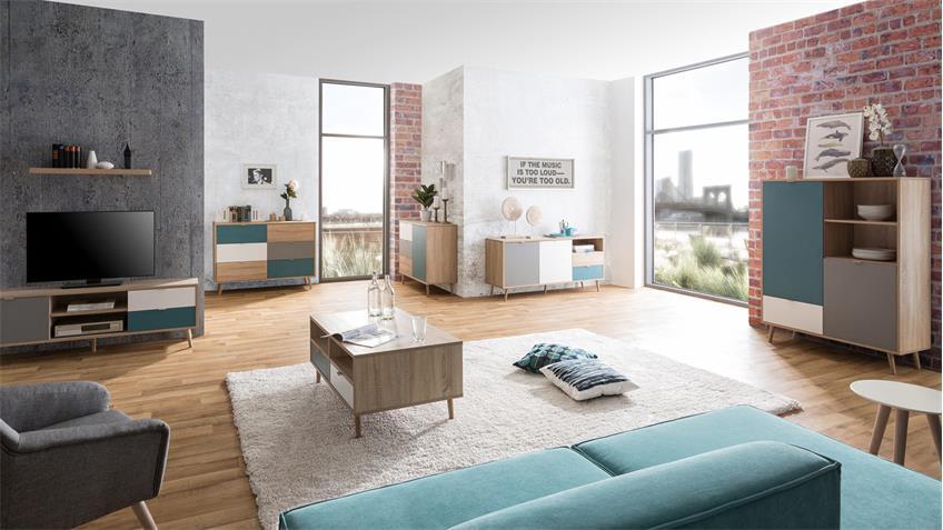 highboard cuba schrank anrichte sonoma eiche wei grau petrol 103x138. Black Bedroom Furniture Sets. Home Design Ideas