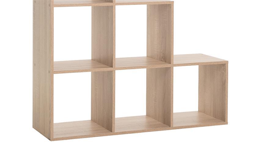 regal udine stufenregal standregal raumteiler in sonoma eiche 105 cm. Black Bedroom Furniture Sets. Home Design Ideas