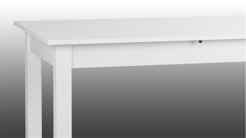Ausziehtisch COBURG Esstisch Küchentisch weiß 120-160x70 cm