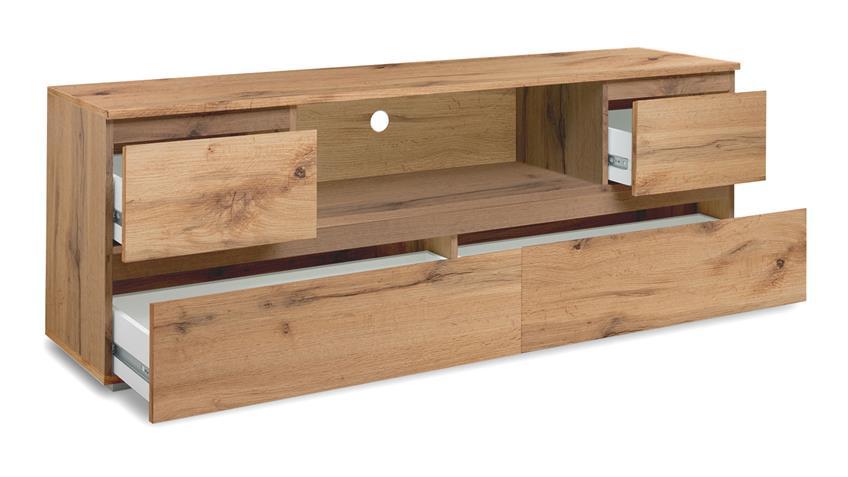 TV-Board BLANC Honigeiche Lowboard TV-Tisch grifflos