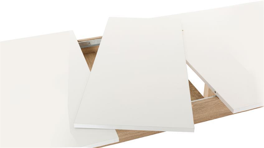 Esstisch LUND weiß Sonoma Eiche ausziehbar 160-200 cm